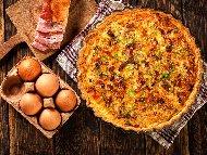 Рецепта Киш Лорен с бекон, яйца, прясно мляко и течна готварска сметана - класическа оригинална рецепта